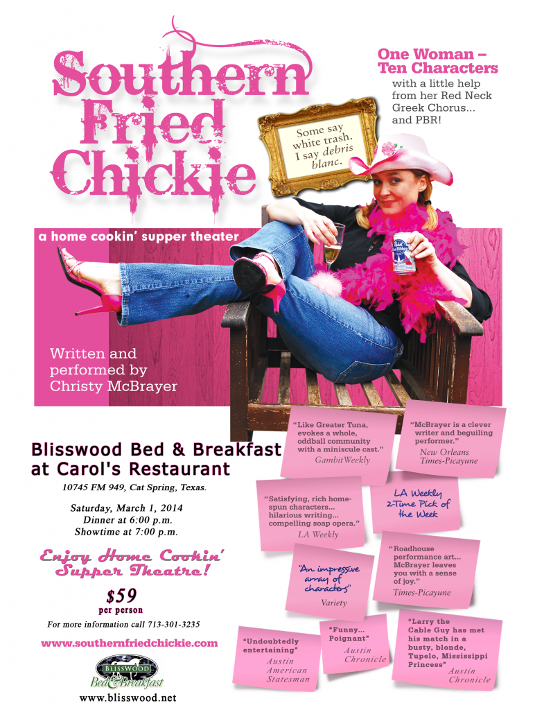 Dinner Theater at BlissWood: Southern Fried Chickie