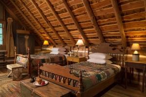 Log cabin bedroom view