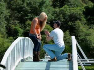 A man proposing to a woman