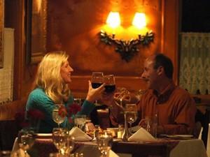 A couple celebrating