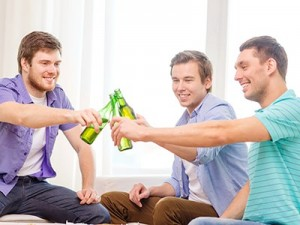 Three guys with beer