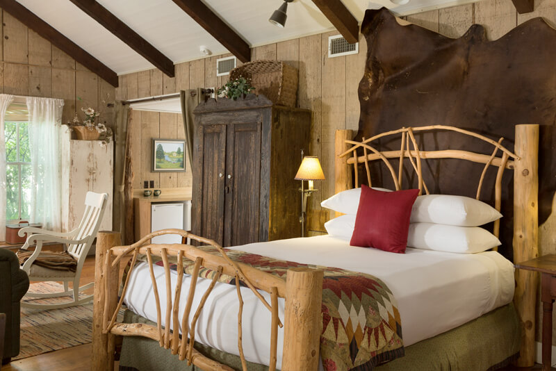 Rustic yet luxurious guest room at Cat Springs bed and breakfast