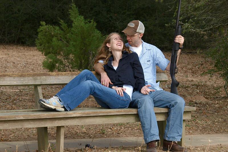Couple in love skeet shooting in Texas
