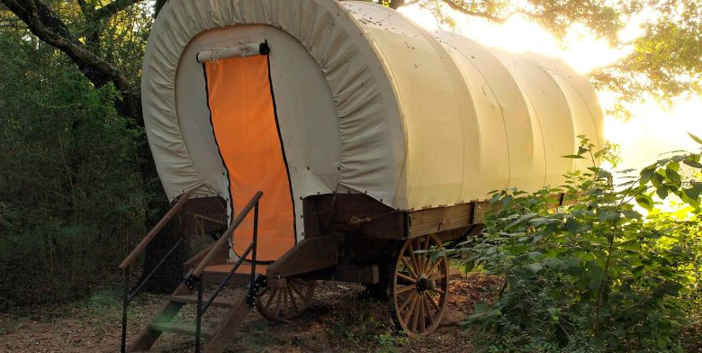 Conestoga Covered Wagon at sunset