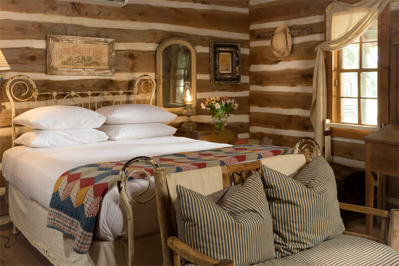 Rustic bedroom at Texas bed and breakfast