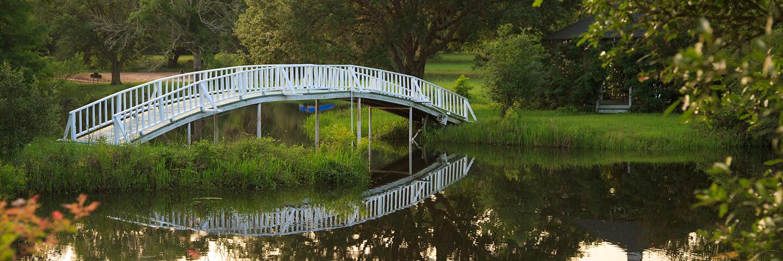 Bridge over a lake at our Texas B&B