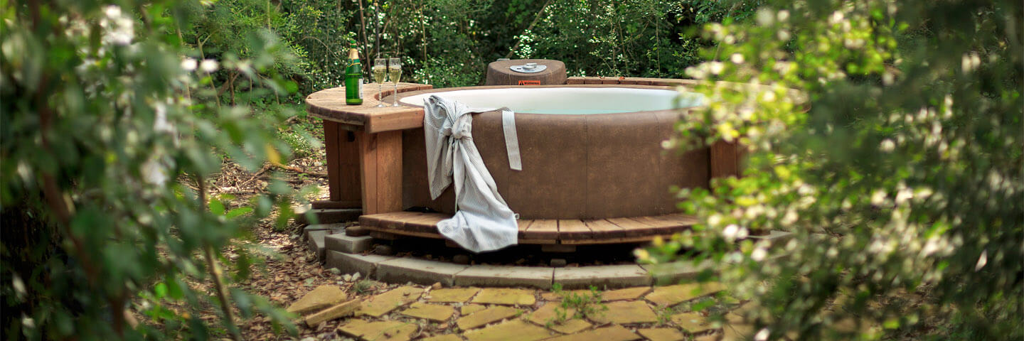 Secluded hot tub on private patio