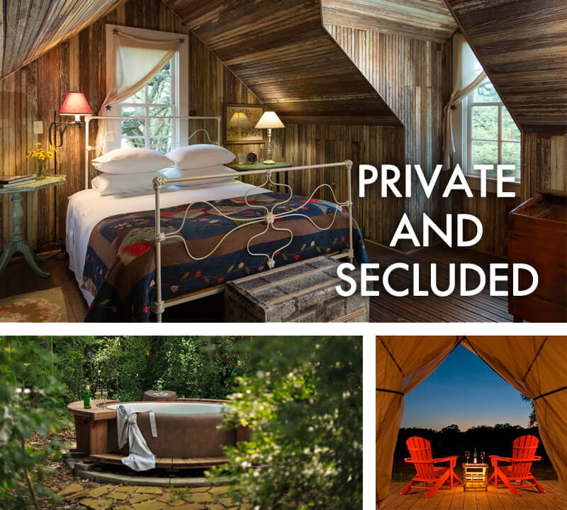 Trio of pictures with bed, hot tub and safari tent