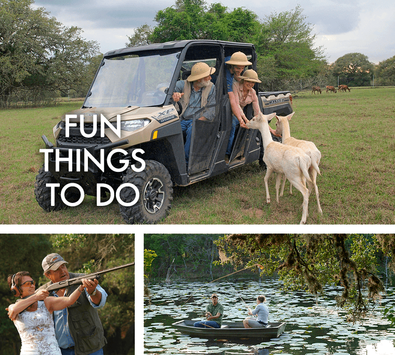 Trio of pictures with a safari, trapshooting and fishing