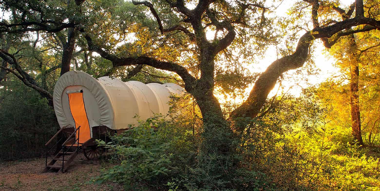 Conestoga Covered Wagon at sunset