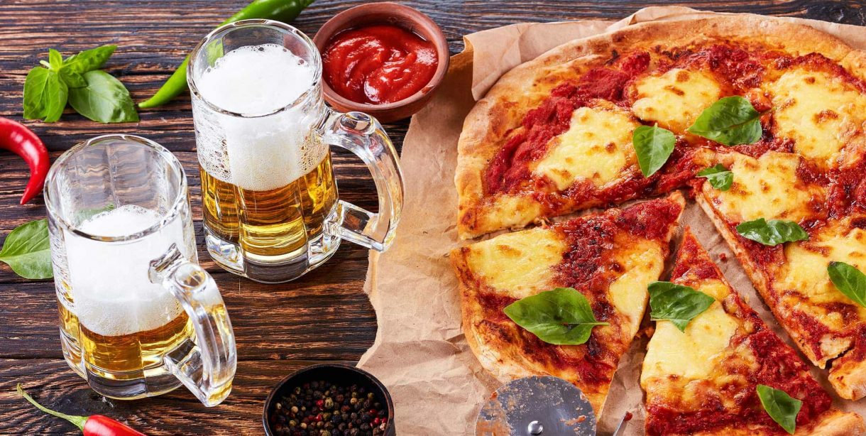 Gourmet pizza and beer