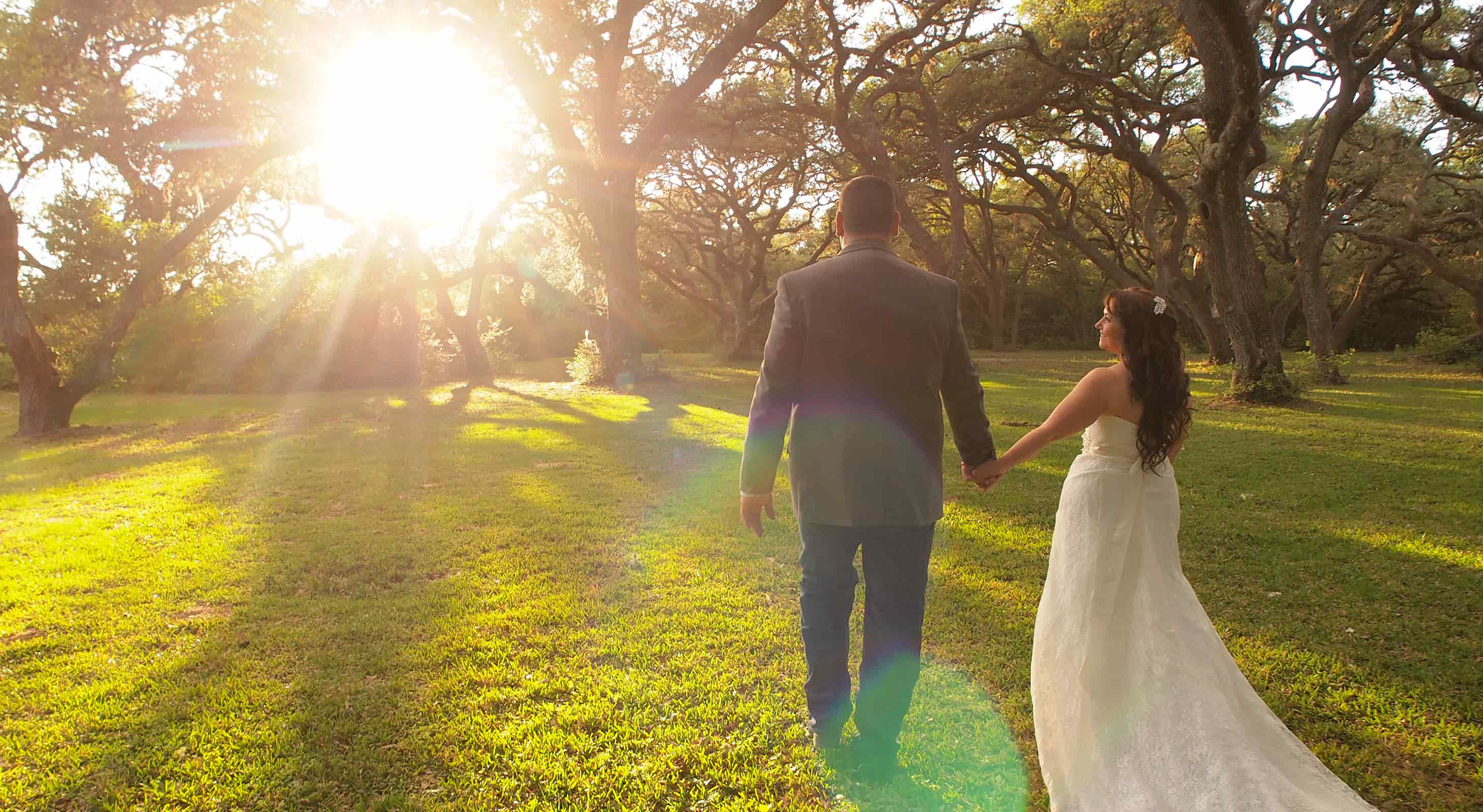 Bride and groom holding hands walking by the trees at sunset