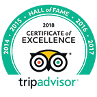Tripadvisor Certificate of Excellence 2018 Hall of Fame