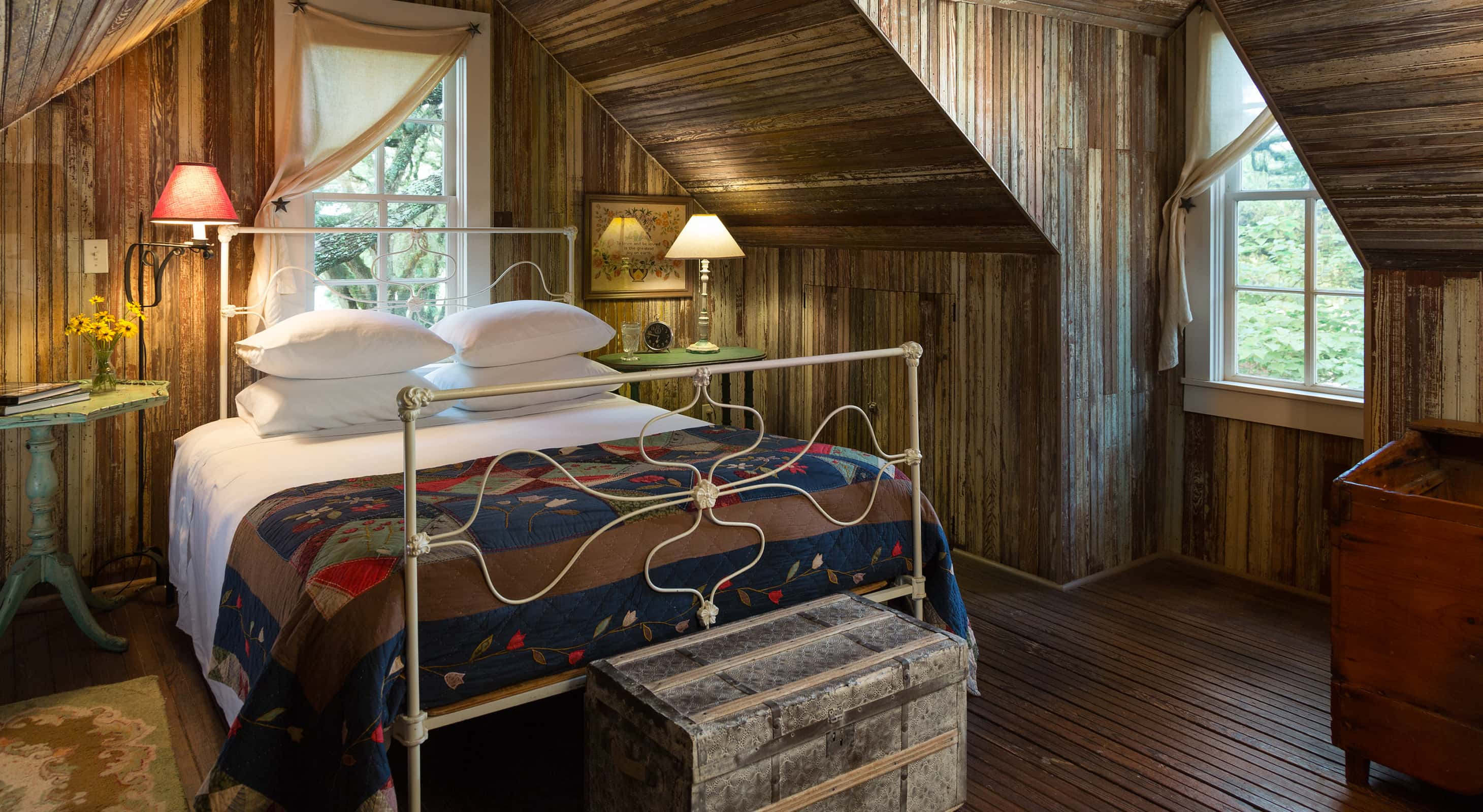 Farmhouse Guest Room with wood walls
