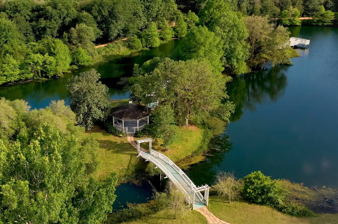 aerial view of private lake and gazebo