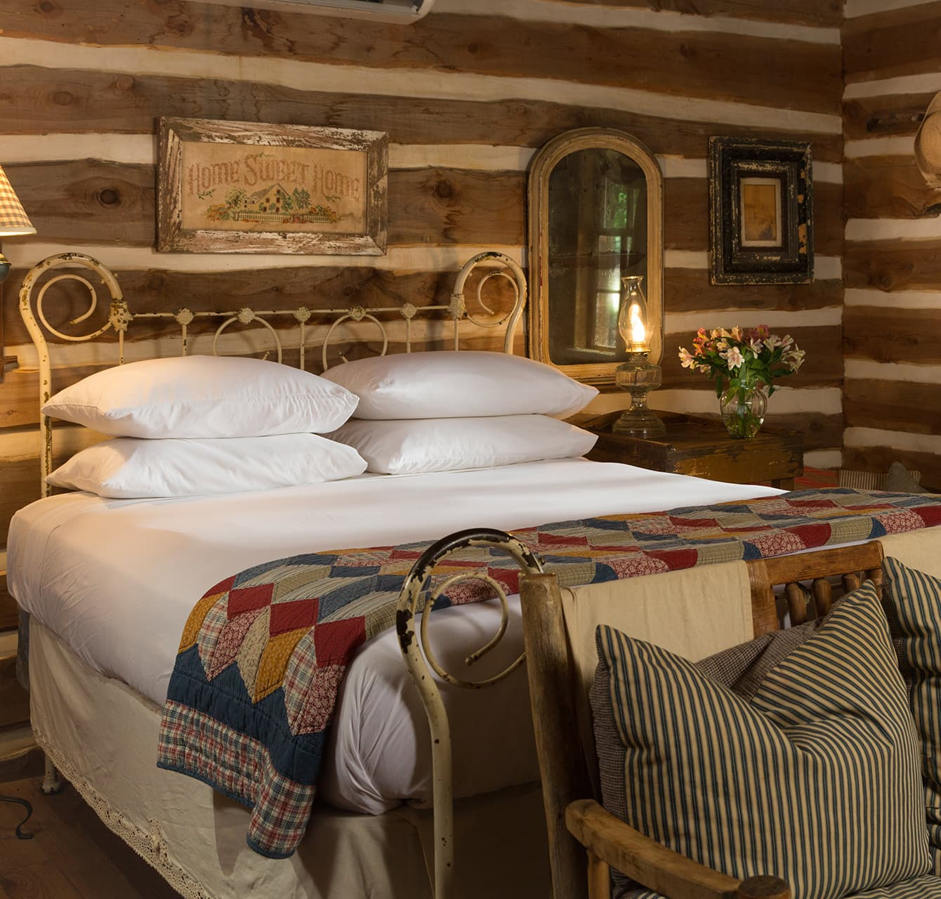 Bed in the Log Cabin