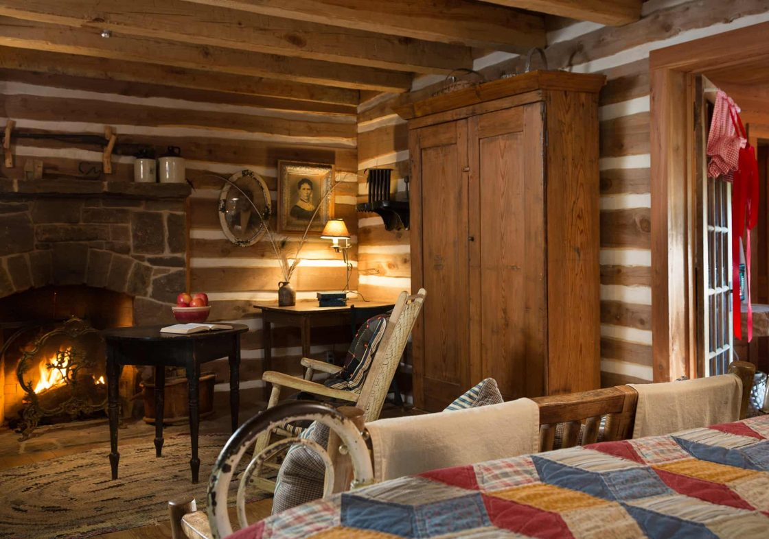 The Log Cabin fireplace