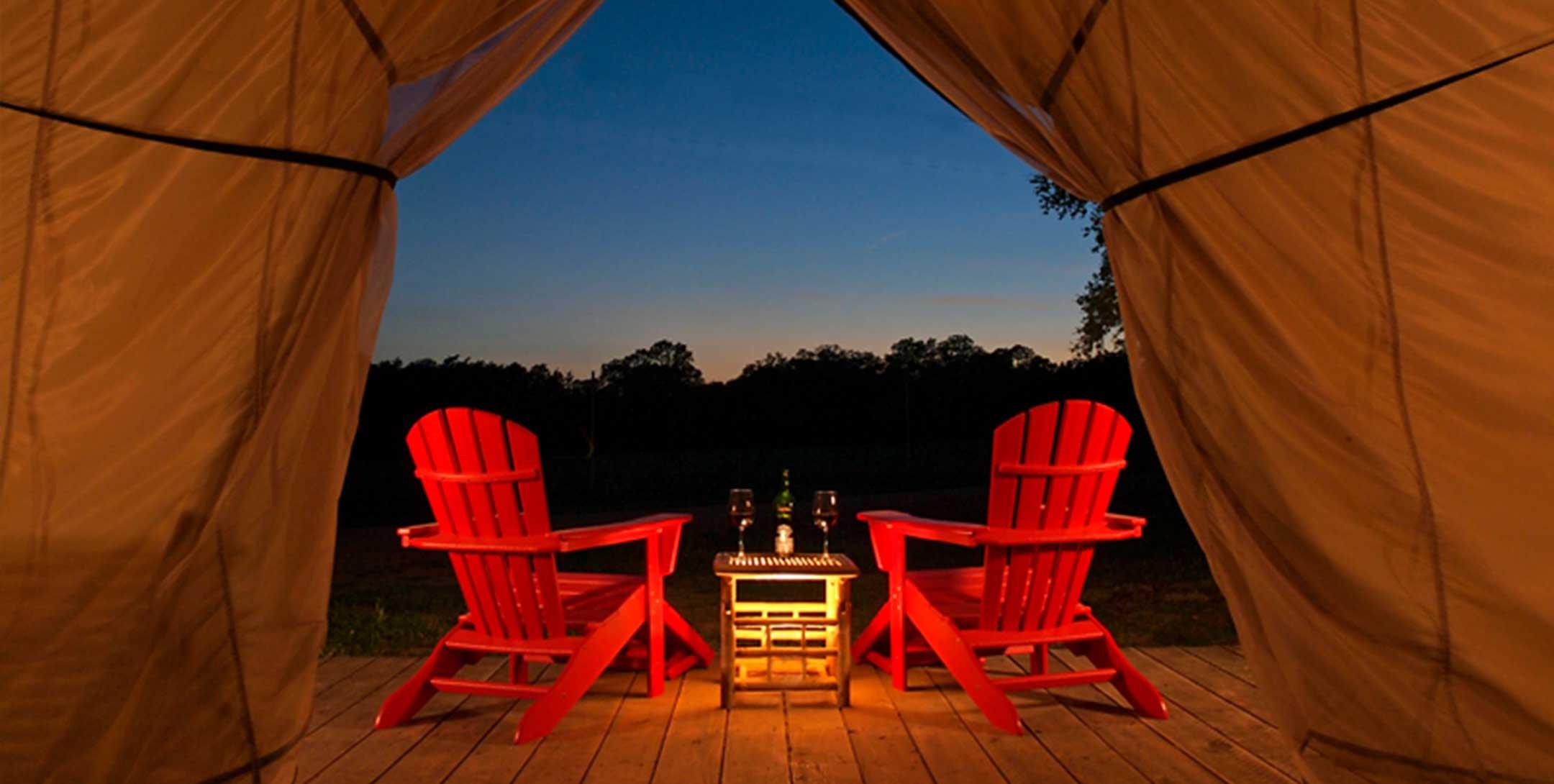 Grand Safari Tent view at sunset