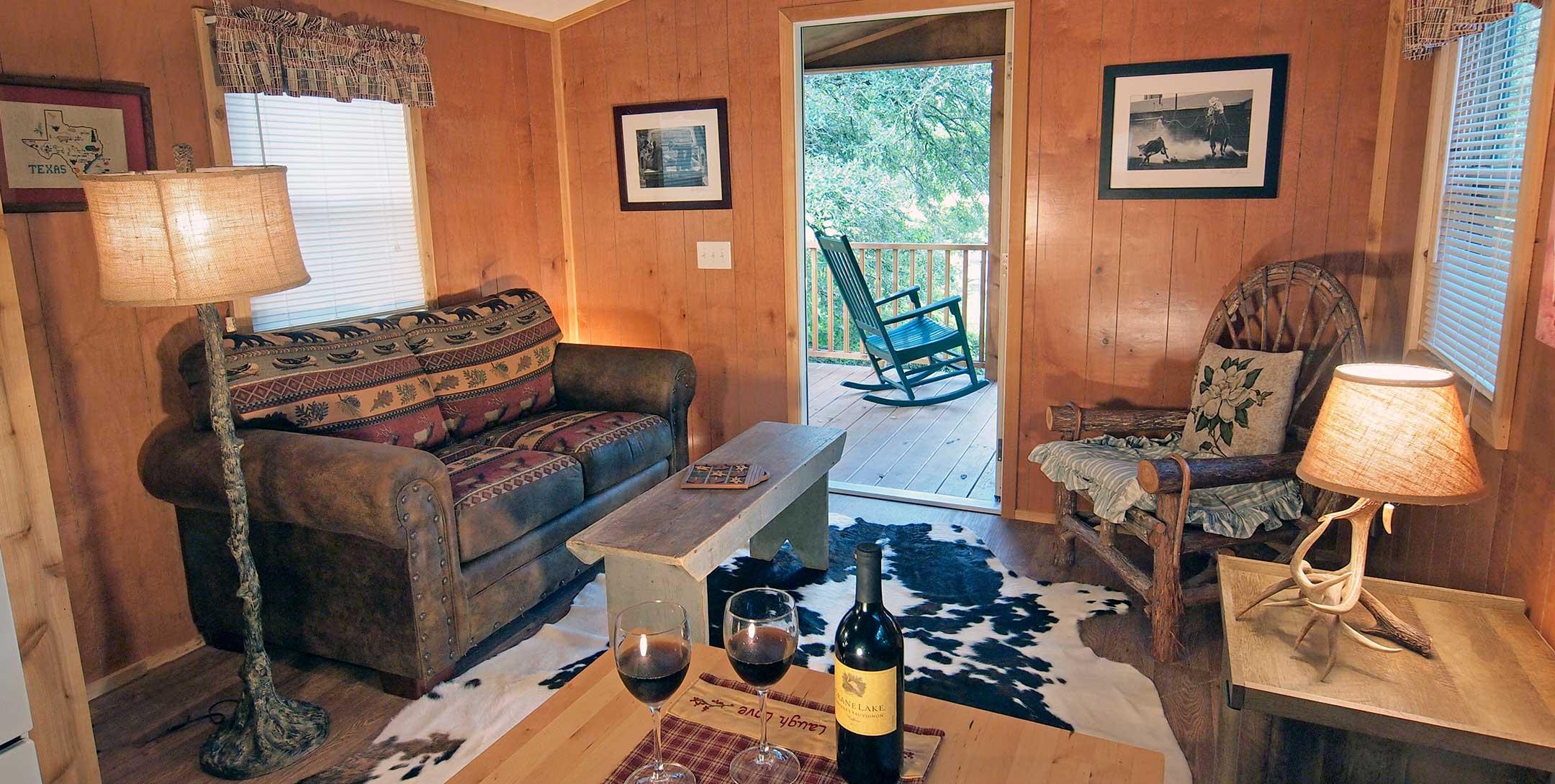 Sunset Pond Cabin living room
