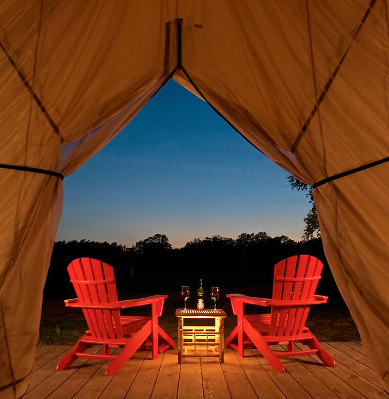 evening view from safari tent in Texas
