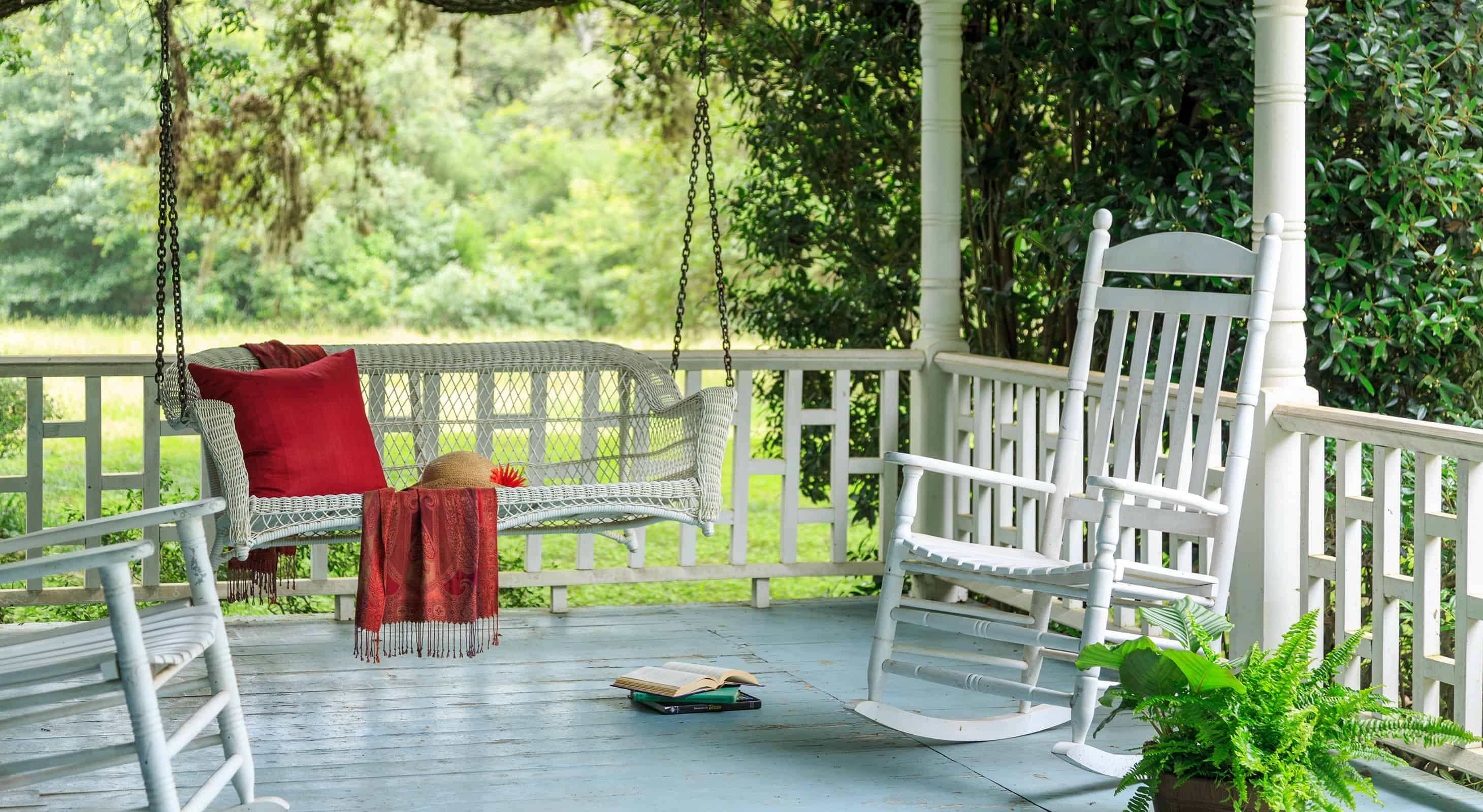 deck with swing and rocking chairs