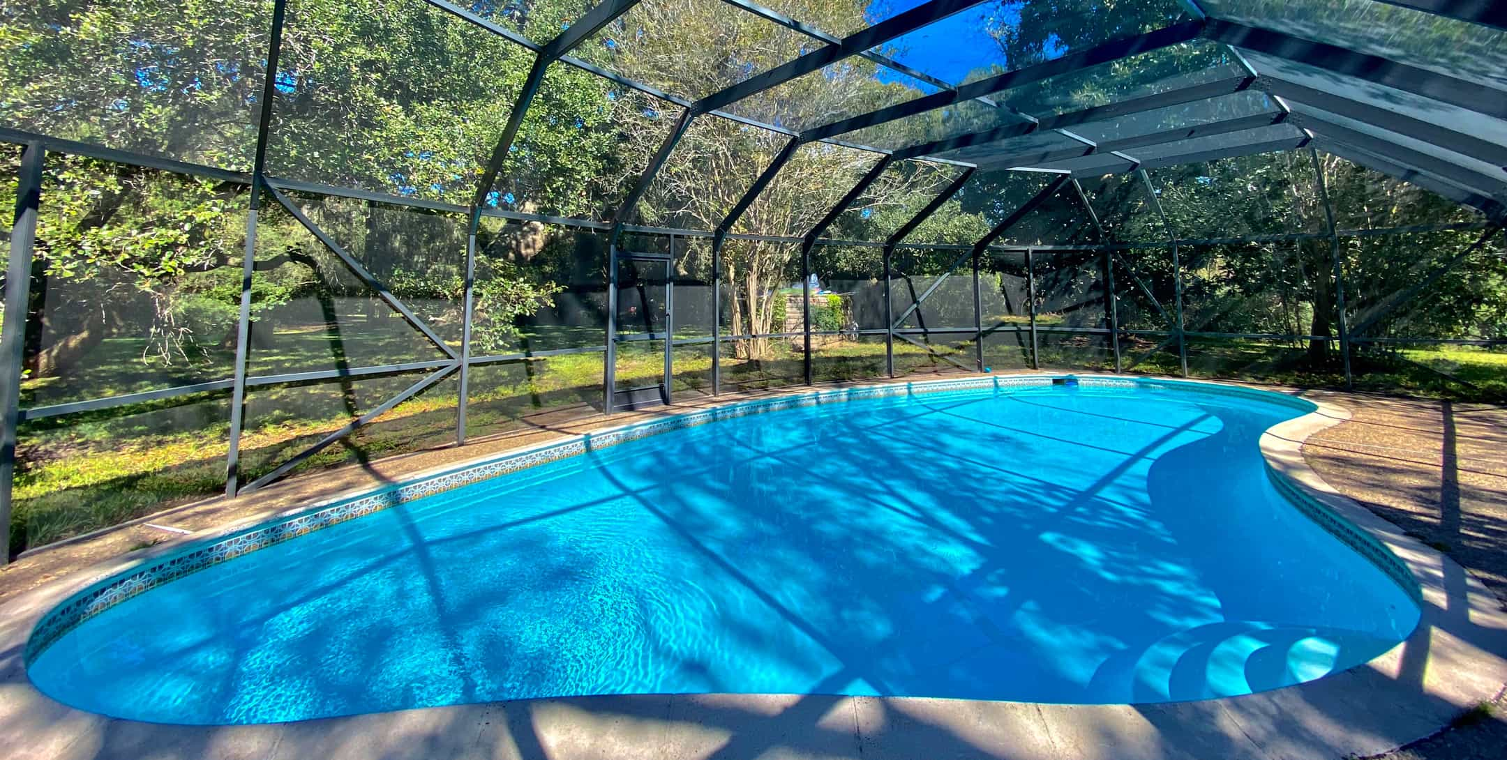 Private enclosed pool of the Dog Trot Cabin at BlissWood Bed and Breakfast Ranch
