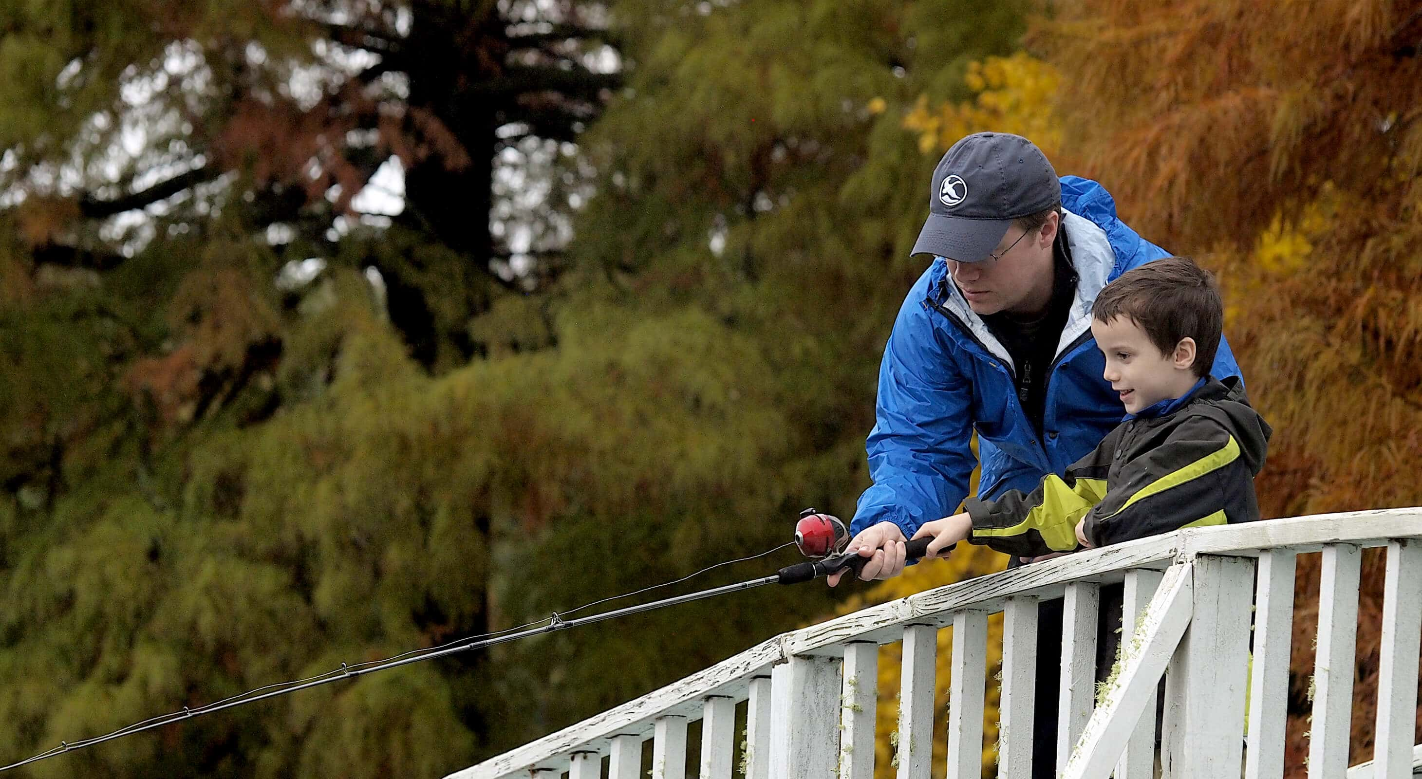 Father and son fishing at Texas lake