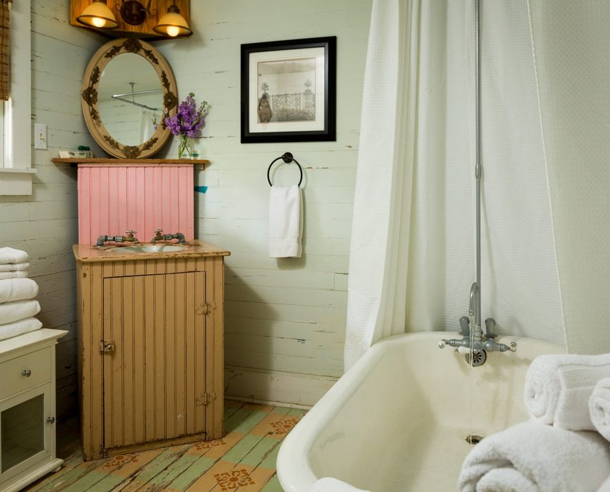 Rustic and luxurious bathroom in the Bluebonnet Bungalow