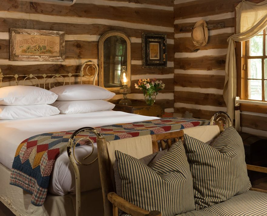 Bed in the Log Cabin at BlissWood