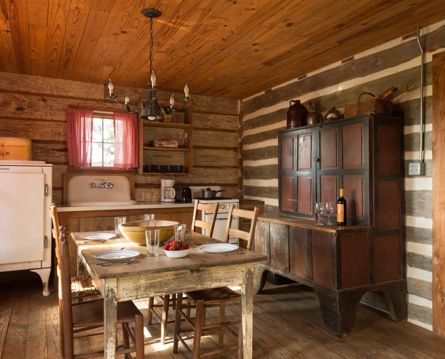 BlissWood Log Cabin kitchen with dining table