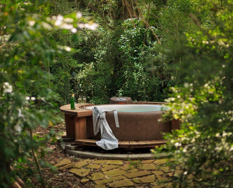a private outdoor hot tub