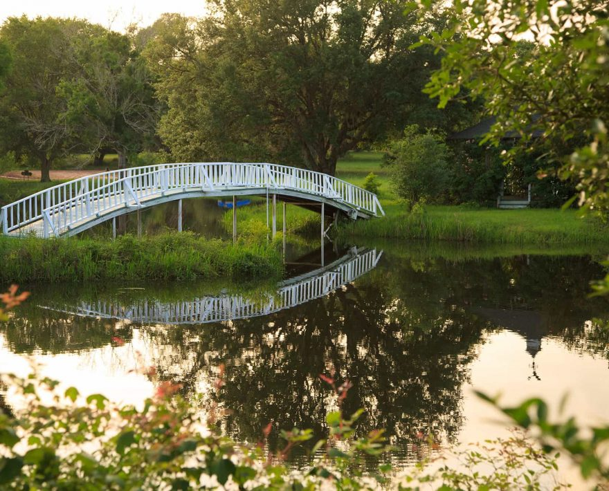 Bridge at the Enchanted Lake at BlissWood Bed and Breakfast