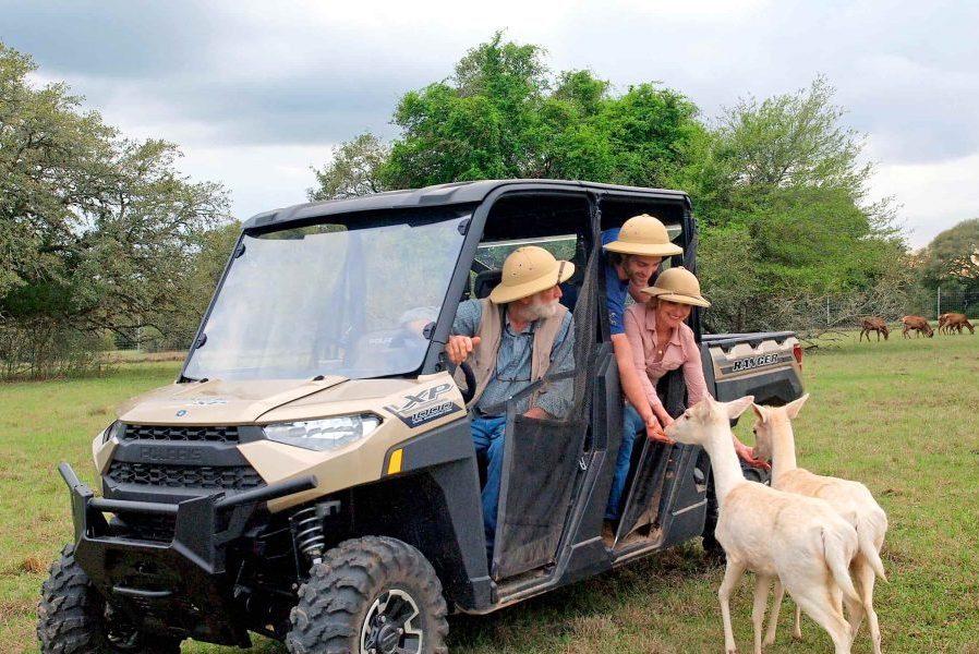 couple on private animal safari in Texas