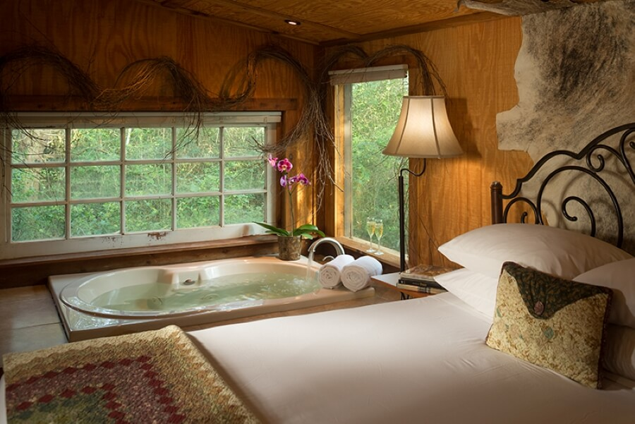 romantic room with hot tub at BlissWood Bed and Breakfast Ranch
