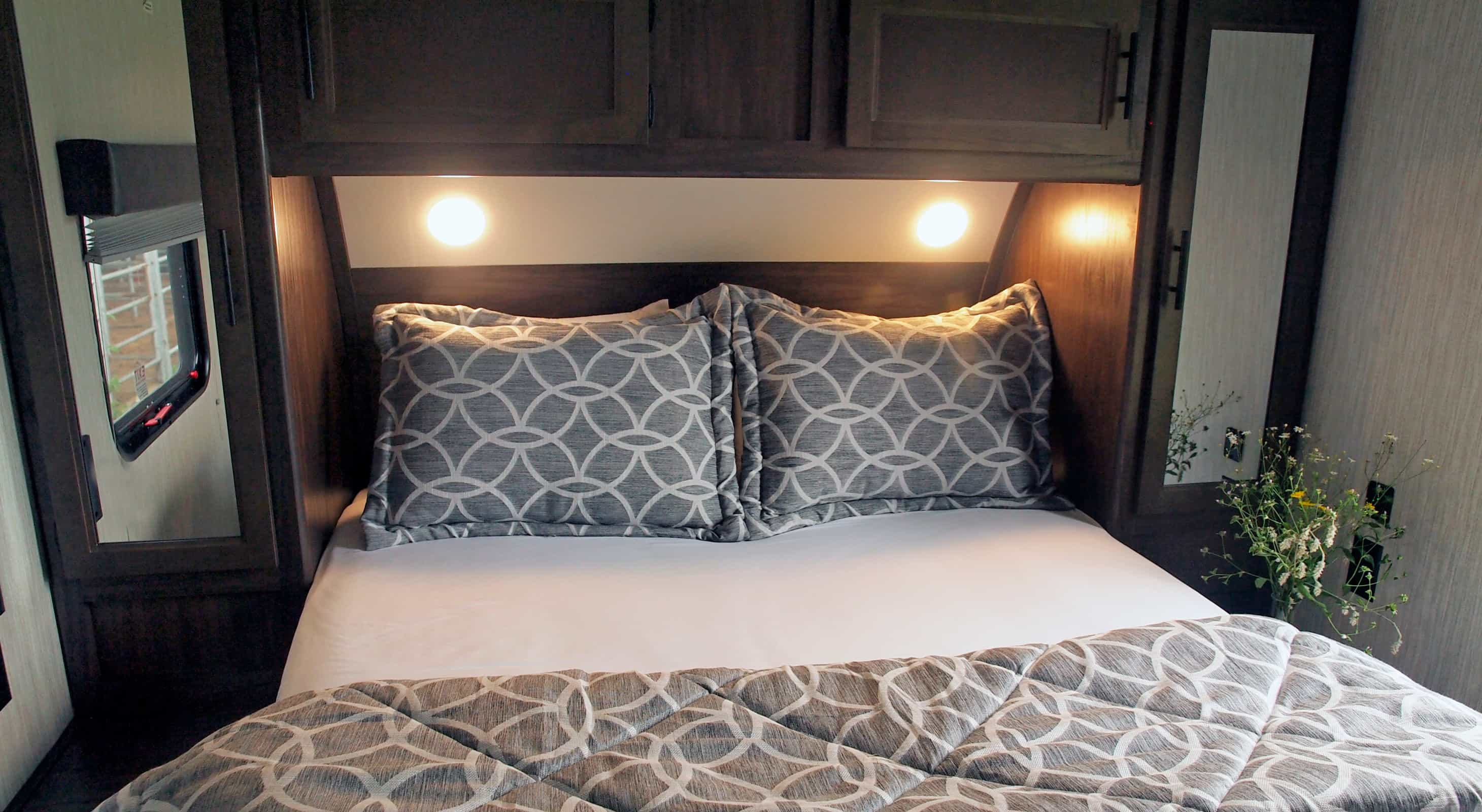 Bed at the LakeView Deluxe RV near Houston